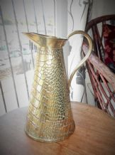 "ART NOUVEAU JS &S ORNATE BRASS JUG REPTILE SKIN OUTER GREAT COND 11"" HIGH"